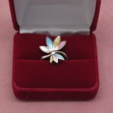 Sterling Silver Vintage Mother of Pearl ring size 8 hallmark 925    b2