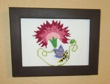 PINK FLOWER PCTURE W/ BUTTERFLY AND SWAROVSKI CRYSTALS HAND-STITCHED FRAMED ART