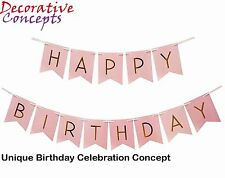 Pastel Pink Happy Birthday Bunting Garland Gold Letters Party Hanging Banner HOT