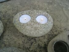 SCANDINAVIAN TEA LIGHT HOLDERS : NATURAL BEACH STONES CUT WITH 2 HOLES