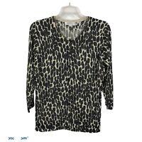 JOSEPH A. Women's Cardigan Sweater Beautiful Black, Cream W/Metallic Gold Thread