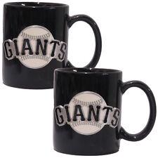 SAN FRANCISCO GIANTS 2 Piece MLB Ceramic Coffee Mug Set Pewter Emblem