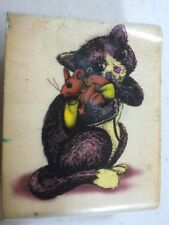 Kitten Kitty Cat Stuffed Mouse Sky Kids Inc. Wood Rubber Stamp Rs30