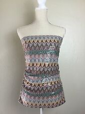 Express Strapless Sequin Tank Top Shirt Multi Color Size S