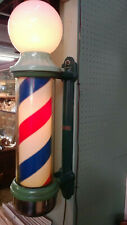 Vintage early 20th century Theo A Kochs lighted rotating barber's pole