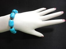 Turquoise Beads Fashion Jewelry Bracelet Silver Plated Clasp - 26.9 gr.    #2055