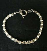 """Vintage Sterling Silver Bracelet Dream Charms Beads Toggle Clasp Baby Petite 7"""""""