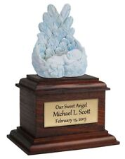 Small/Keepsake 8 Cubic Inch Blue Heaven's Care Infant Cremation Urn w/Brown base