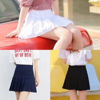 Women's Tennis High Waist Plain Skater Pleated Short Mini Short Skirts Cosplay