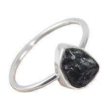 925 STERLING SILVER DESIGNER ROUGH BLACK TOURMALINE HANDMADE RING sz 8.75