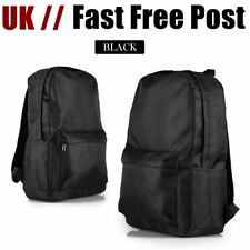 Mens Large Zipped Backpack Rucksack Bag for HIKING SCHOOL WORK SPORTS BLACK New