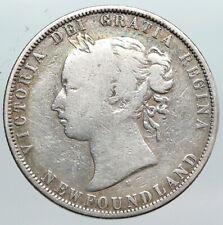 1872 H CANADA NEWFOUNDLAND UK Queen VICTORIA Antique Silver 50 Cents Coin i90562