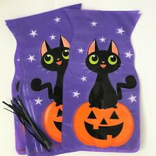 10 X Halloween BLACK CAT and PUMPKIN CELLO Sweet Gift  loot Bags TRICK OR TREAT