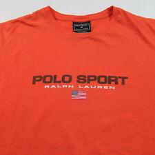 Vintage Polo Sport Ralph Lauren T Shirt Long Sleeve Orange Usa Flag Spell Out M