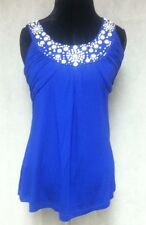 Collection Dressbarn Blue White Beaded Sleeveless Top Size M defoors16