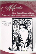 New February 2010 MAGENTA RUBBER STAMP Cling neko Cat of month small