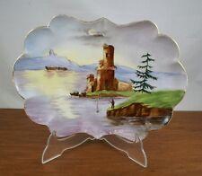 alte Porzellan Platte mit Seemotiv und Angler, ca. 50er Jahre