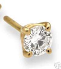 ONE DIAMOND STUD EARRING J COLOR SI CLARITY 1/2CT SINGLE 14K YELLOW