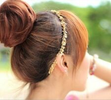 Korea Women Beautiful Romantic Golden Chain Leaf Hair Clip Headband Head Wrap