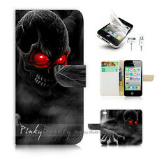 ( For iPhone 4 / 4S ) Wallet Case Cover! Horror Skull P0523