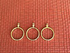 TWO GOLD PLATED SCREW TOP 25mm COIN HOLDER BEZEL FOR QUARTER