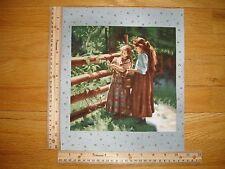 "Pioneer Living Girls Picking Berries Pail Cotton Quilt Fabric Block 9"" x 9"""