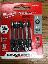 "5pk #2 Phillips Shockwave 2"" Power Bits Milwaukee 48-32-4602 New"