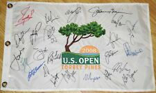 Jack NICKLAUS Tiger Woods Spieth DJ +20  Signed 2008 US OPEN CHAMPS Flag JSA LOA