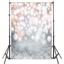 3X5FT Xmas Silver Bokeh Lights Vinyl Backdrop Photography Studio Prop Background