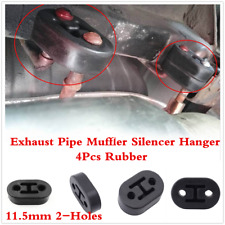 Universal Black Rubber Car Muffler Exhaust Tail Pipe 2-Hole Hanger 4Pcs 11.5mm