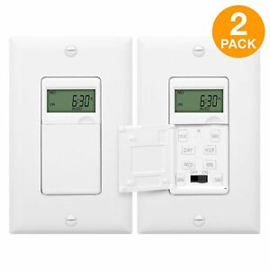 ENERLITES In Wall Digital Timer Decorator Switch for Outdoor Lights 2 Pack