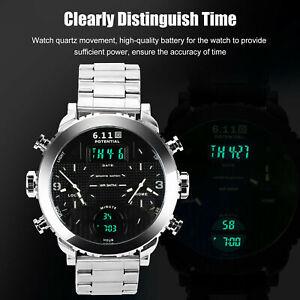 Men's Wrist Watch Analog Quartz Digital Silver Stainless Steel Luxury Wristwatch