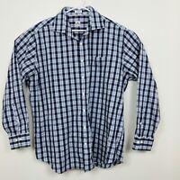 Peter Millar Long Sleeve Oxford Shirt Plaid Mens Sz XL Blue White Teal Brown EUC