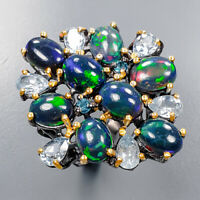 Black Opal Ring Silver 925 Sterling Expensive 8x6 mm. GEM Size 7.5 /R137425