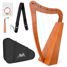 More details for aklot lyre harp 15 string mahogany nylon string + bag tuning wrench string strap