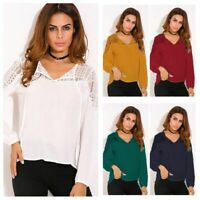 ZANZEA Women V-Neck Floral Casual Blouse Ladies Long Sleeve Shirt Pullover Tops
