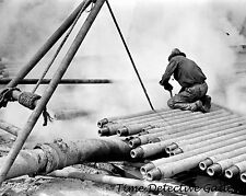 Oil Worker on Drill Pipe Probing Slush Pit, Texas - 1939 - Historic Photo Print