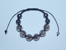 Silver Shamballa & Dark Grey Pearl Adjustable Macramé Bracelet - No Metal - NEW