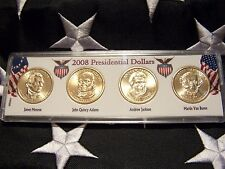 COMPLETE SET OF ALL  FOUR 2008-P PRESIDENTIAL  DOLLARS IN DISPLAY CASE