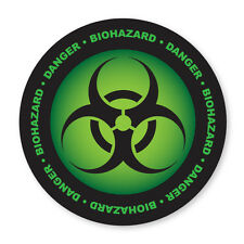 2 x DANGER- BIOHAZARD SYMBOL, TOXIC, GREEN COOL car, van decal sticker