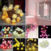 20 LED Rose Flower Fairy Lights Wedding Party Xmas String Battery Bedroom Garden