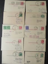 Lot of 10 Different Hawaii Town Cancels on Postal Cards 1950s
