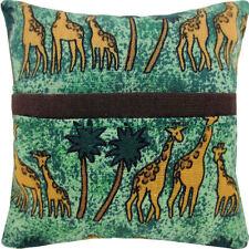 Tooth Fairy Pillow, green, giraffe print fabric, brown bias tape trim