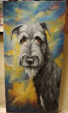New ListingOriginAl Oil Painting~-Irish Wolfhound-*Dog~Portrait~H and Painted~one of a kind