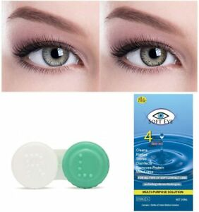Grey and Brown Colored Contact Lens 2 Pair Monthly Disposable with Case Solution