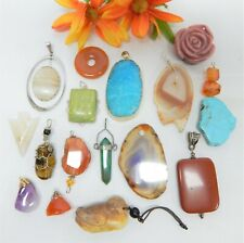 SEMI PRECIOUS STONE PENDANT LOT - VINTAGE TO NOW JEWELRY FINDINGS & CRAFTING