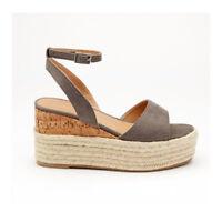 Womens Grey SUEDETTE CORK ESPADRILLE WEDGE PLATFORM Sandals Ladies UK