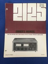 McIntosh MC2125 Owner's Manual- Original