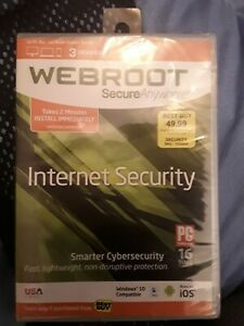 WEBROOT Secure Anywhere - Internet Security - Antivirus 3 Devices - New Sealed