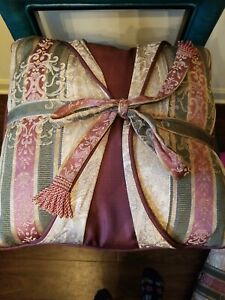 """CROSCILL DOVER MANOR DUNHILL TOWNHOUSE 16"""" Sq DECORATIVE Bed PILLOW BOW Tassels"""